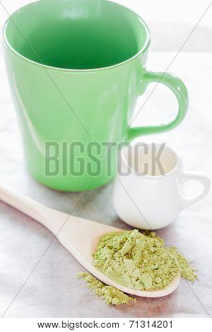 Set Of Making Hot Green Tea Latte Drink
