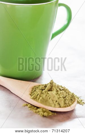 Making Hot Drink Of Green Tea