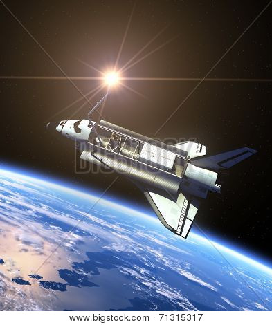 Space Shuttle And Sun. Realistic 3D Scene. Elements of this image furnished by NASA. poster