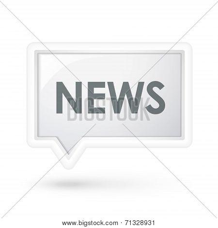 News Word On A Speech Bubble