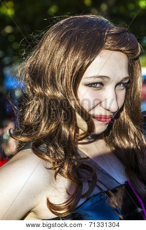 Girl Dressed As Manga Poses At Frankfurt International Book Fair