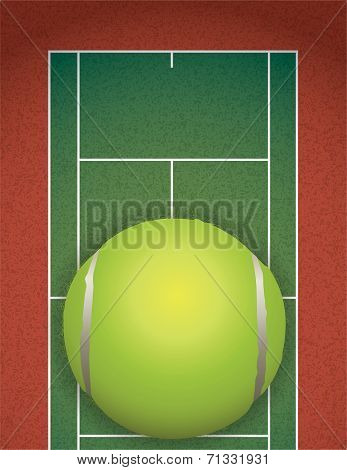 Realistic Textured Tennis Court And Ball Illustration