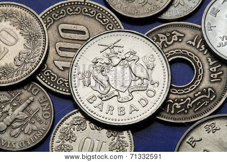 Coins of Barbados. Barbadian national coat of arms depicted in a Barbadian twenty five cents coin.