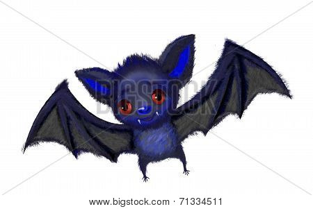 Cute cartoon of a a bat flying