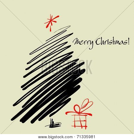 art sketch vector Christmas tree with gift box and space for text
