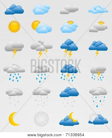 Set of colorful weather icons