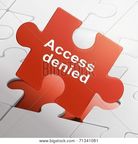 Access Denied On Red Puzzle Pieces