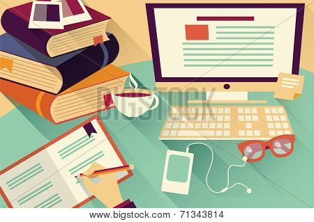 Flat design objects, work desk, office desk, books, computer and stationery poster