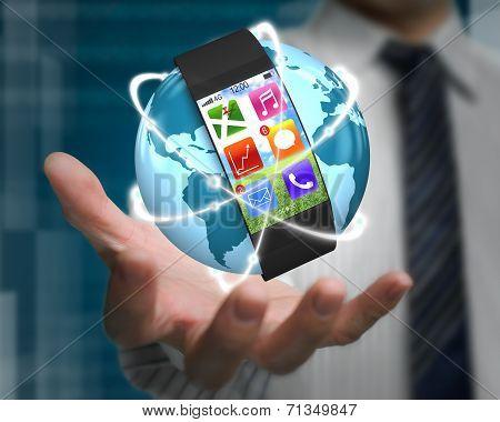 Curved Screen Smartwatch On Glowing Orbit Globe In Businessman Palm