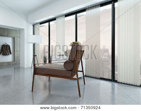 Modern Chair in Apartment Decorated in Minimalist Style near Windows