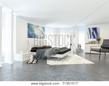 Interior of Bright Modern Bedroom in Apartment Decorated in Minimalist Style