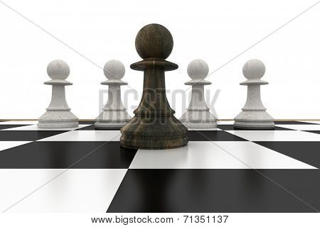 Black pawn in front of white pawns on white background