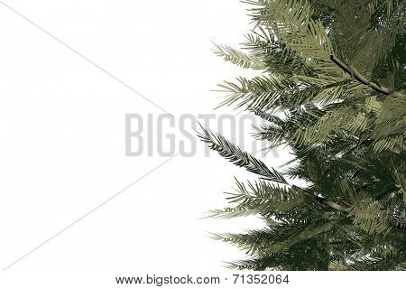 Digitally generated green fir tree on white background poster