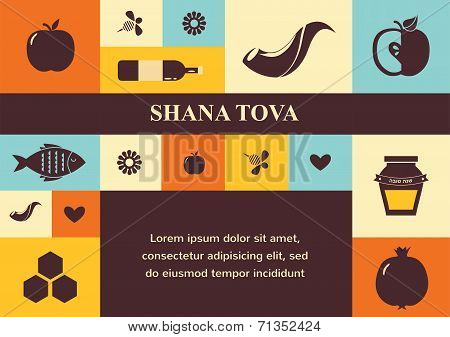 set of Jewish new year icons.  Happy New Year in Hebrew