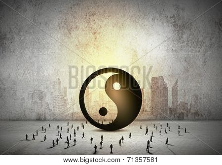 Conceptual image with yin yang sign and silhouettes of businesspeople around poster