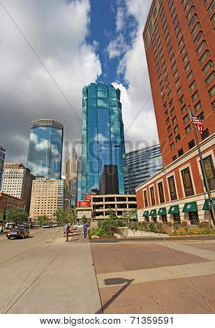 The Skyline Of Minneapolis, Minnesota Along S Marquette Avenue Vertical