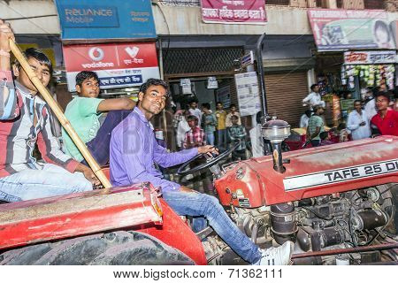 Man On A Tractor Participates The Festival