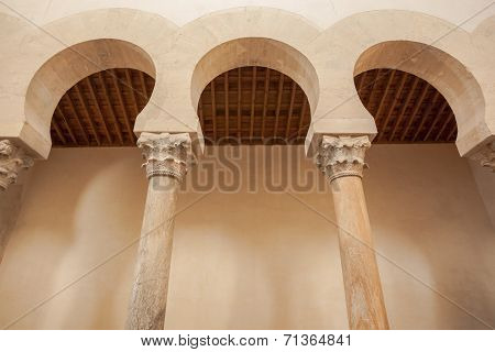 Closeup view of the mozarabic arcade in the chruch of San Cebrian de Mazote located in the province of Valladolid Spain poster