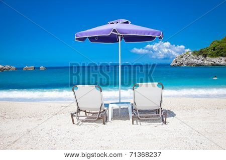 Beautiful Ammoudia sandy beach on Preveza, Greece.