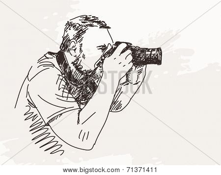 Photographer with photo camera, Hand drawn Vector illustration