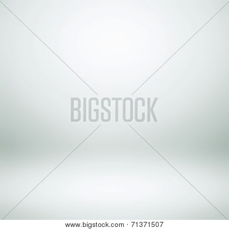 Abstract illustration background texture of light cold gray, snowy white and clear blue gradient wall, flat floor, wide ceiling and sides from metal in empty spacious room interior with mist and haze.
