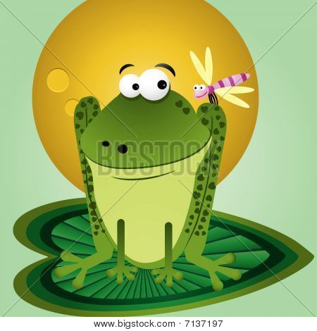 Cartoon Frog With Fly