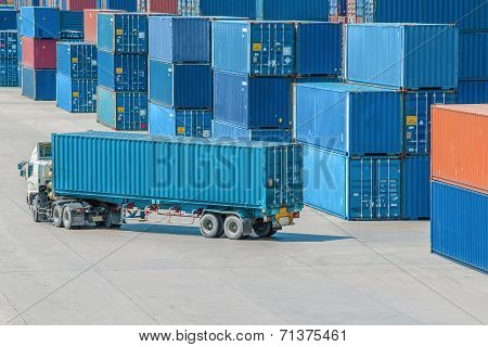 Truck In Container Depot