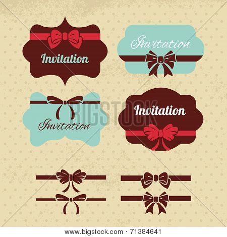 Collection of vintage labels, ribbons and bows