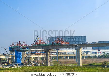 Construction Site Of The Skytrain In Bangkok, Thailand