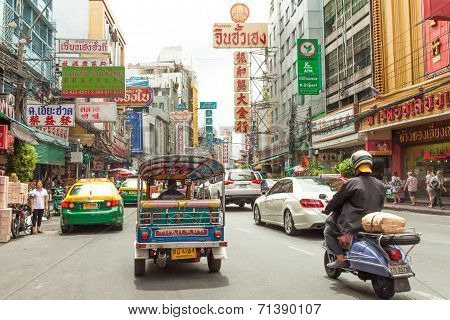 TukTuk (A  typical quick cab) ride in chinatown area of Bangkok Thailand