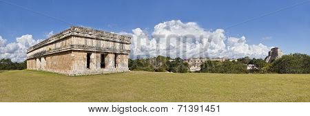 Uxmal In Mexiko - Panorama With Temple And Pyramid