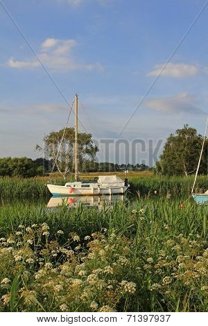 Moored Sail Boat At River Frome