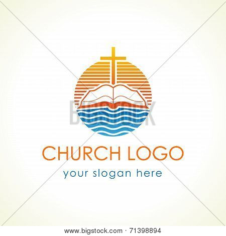Cross and bible christian vector logo. Open book, sunset and waves of water stamp icon. Educational stamp symbol for missionary, churches, events, organizations. Religious debates or discussion sign.