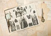 antique accessories old letters and fashion woman's magazine from 1888. vintage nostalgic background poster
