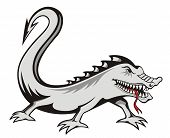 Evil lizard tattoo isolated on white background poster