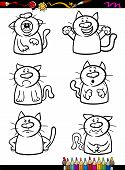 Coloring Book or Page Cartoon Illustration of Black and White Funny Cats Expressing Emotions Set for Children poster