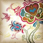 Vector of Oriental Style Floral and Bird. poster