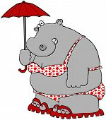 This illustration depicts a hippo wearing a polka-dot bikini and holding an umbrella. poster