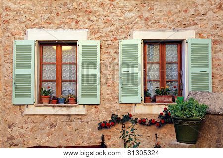 French Rustic Windows With Old Green Shutters, Provence