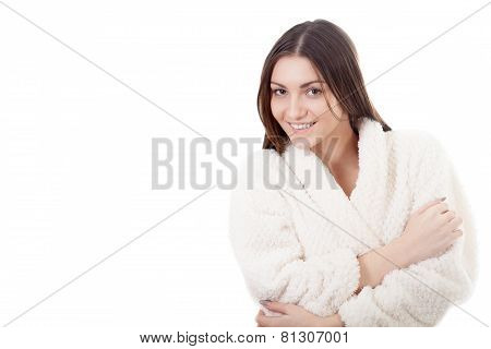 Smiling Young Female In White Bathrobe