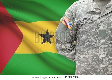American Soldier With Flag On Background - Democratic Republic Of Sao Tome And Principe