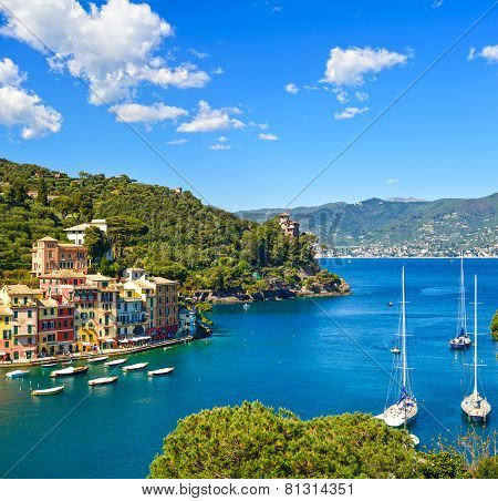 Portofino luxury landmark aerial panoramic view. Village and yacht in little bay harbor. Liguria Italy poster