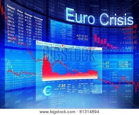 Euro Crisis Economic Financial Banking Investment Concept