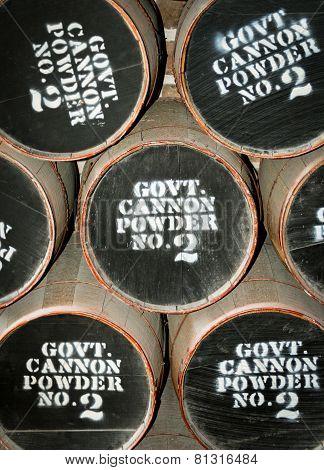 Barrels on gun powder