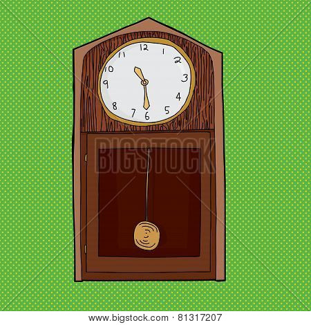 Grandfather Clock Over Green