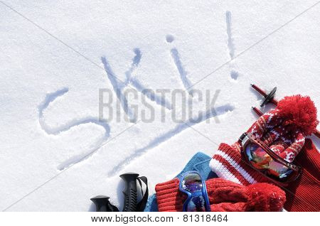 Ski Written In Snow
