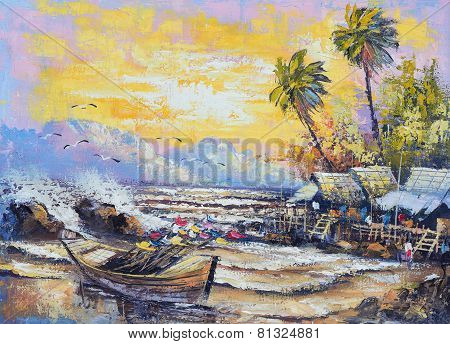 Original Oil Painting On Canvas - Old Fishing Boat In The Harbor