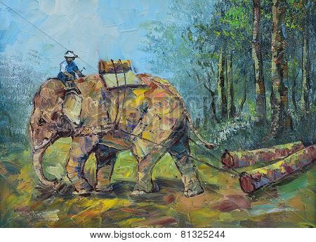 Original Oil Painting On Canvas - Elephants To Drag Logs