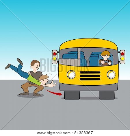 An image of the metaphor of being thrown under the bus. Metaphor for a betrayal.