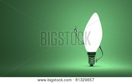 Glowing torpedo light bulb character in aha moment on green background poster